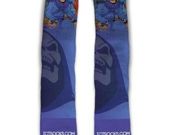 Skeletor Custom Made Socks Funny Socks Masters of the Universe Custom Made Socks