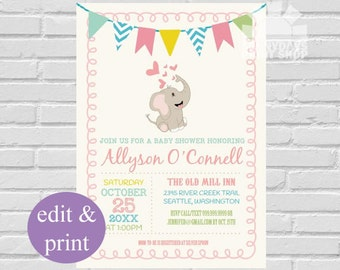 Baby Elephant Girl Baby Shower   Elephant Baby, Elephant Baby Invite, Little Peanut, Elephant Invite, Baby Girl Shower, INSTANT DOWNLOAD