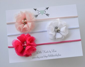 SALE - Set of 3 tulle flower headbands with pearls and rhinestones