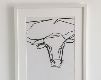 Original Abstract drawing of a longhorn by Adam Slatter