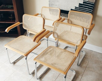 Marcel Breuer Cesca Style Cantilever Chrome and Cane Chairs, Beechwood, Chrome Arm Chairs, Chrome Cane Chairs, Set of 4, Made in Italy