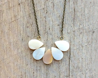Mother of Pearl Petals Necklace, Short Necklace, Pearl Necklace, Rustic Modern Jewelry, Pearl Jewelry, Free Shipping U.S.
