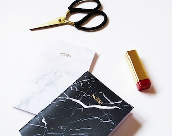 White, Black Marble Gold Foil Set Of A6 Notebooks