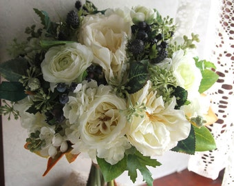 Bride Bouquet , Wedding Bouquet , Silk Bouquet , Garden Bouquet , Garden Rose , White , Ivory , Bouquet with Groom's Boutonniere No31_007W