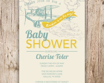Digital Airplane and Travel Baby Shower Invitation