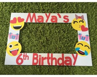 Emoji birthday banner- emoji banner - emoji photo booth- emoji photo frame prop
