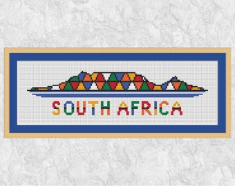 African cross stitch pattern, Table Mountain, Cape Town, South Africa cross stitch silhouette, geometric, abstract, PDF - instant download