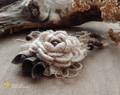 Beautiful Handmade Brooch.Yarn Knitted Boho Brooch.Shabby Chic
