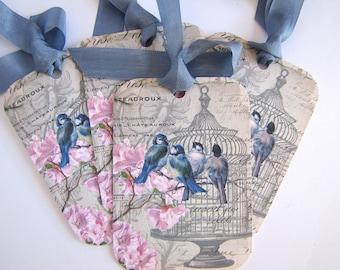 Tags Vintage Image-Bluebirds-Set of 6