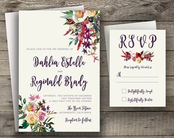Floral Wedding Invitation Printable Boho Chic Wedding Invitation Suite Bohemian Wedding Invite Modern Typography Fall / Winter Wedding