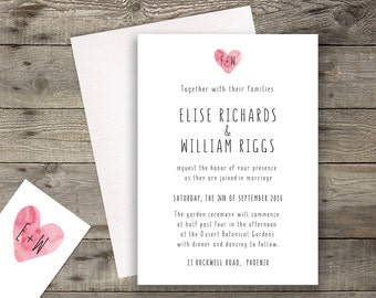 Modern Watercolor Heart Wedding Invitation // RSVP Postcard Save the Date // 5 x 7 Invitation // Printable or Printed // Customizable