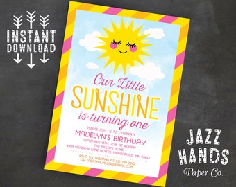You Are My Sunshine Birthday Invitation Template | Sunshine Birthday Party Invitation | Our Little Sunshine | Pink, Sun | Instant Download