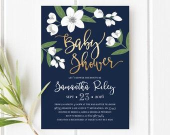 Printable Baby Shower Invitation, Gold Foil, White Flowers, Floral, Navy Blue, Jasmine, Printable, DIY