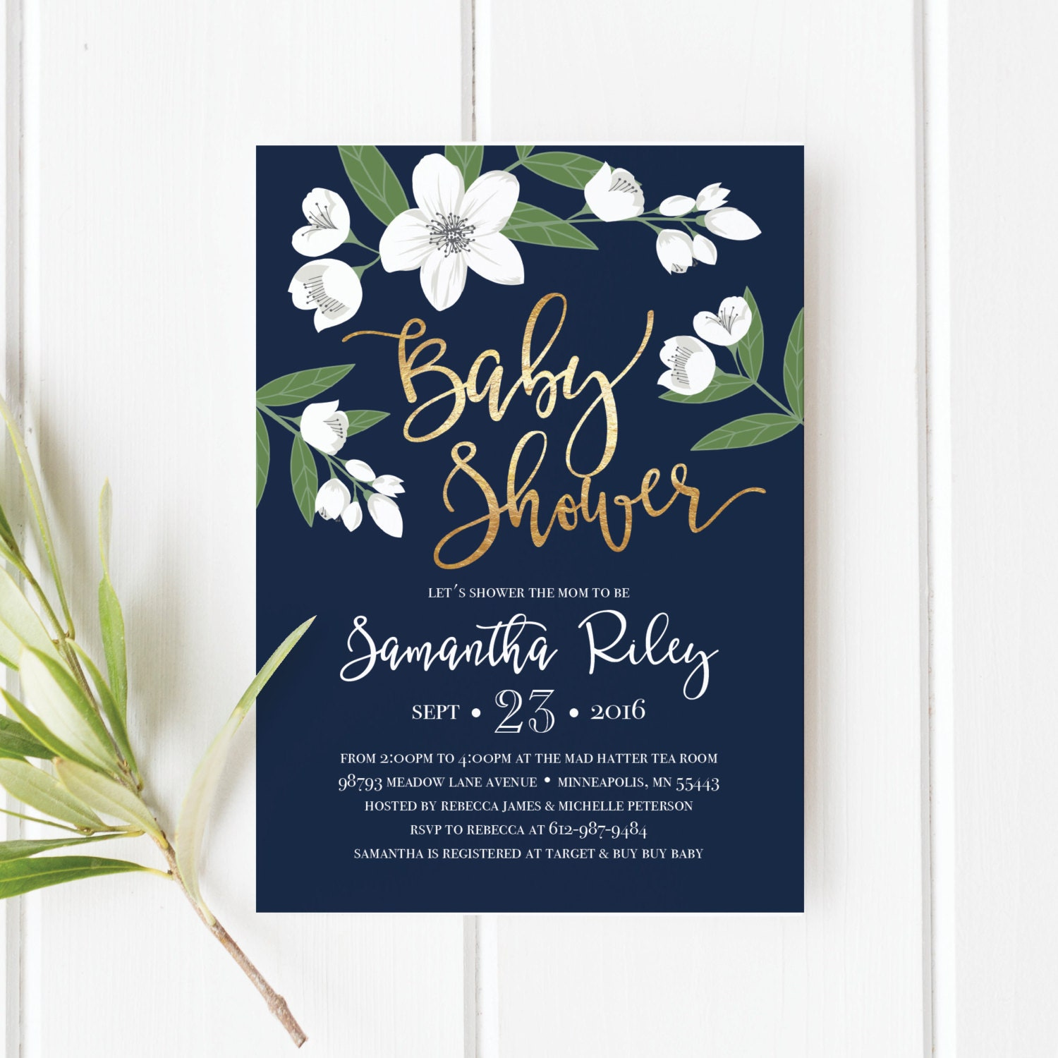 Printable Baby Shower Invitation, Gold Foil, White Flowers, Floral ...