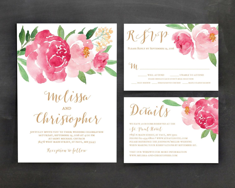 Template For Wedding Invitations: Printable Wedding Invitation Template Set Floral Wedding