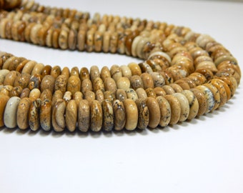 70%OFF Picture Jasper Rondelle Beads 100 Persent Natural Gemstone Size 9.3x8.6 mm Approx  - 0370