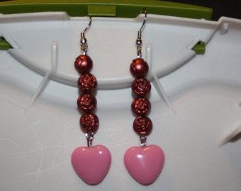 Beaded Rose & Pink Heart Earrings