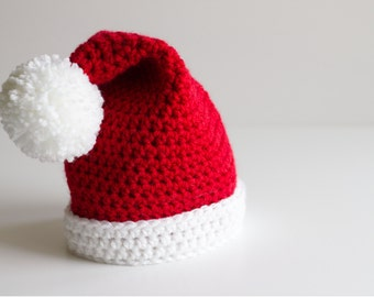 READY TO SHIP Baby Santa Hat, Christmas Hat, Santa Claus, Pompom, Baby Hat, Newborn Hat, Crochet Hat, Infant Hat, Photo Prop