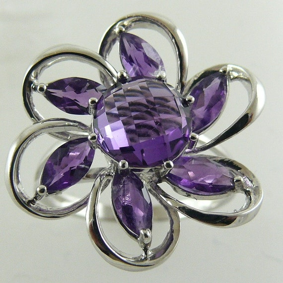 Amethyst Ring 2.88ct - 14k White Gold