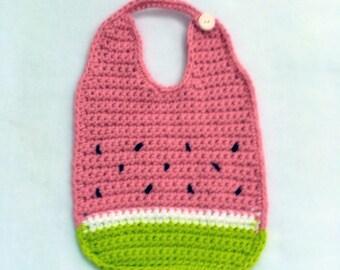 Crochet watermelon bib