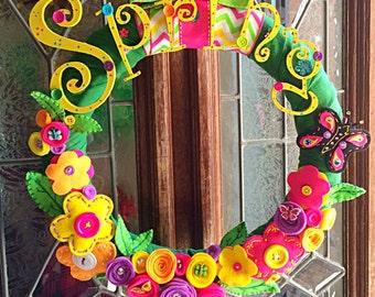 Spring Has Sprung Wreath, Spring Tulle Wreath, Home Office School Wreath Decor