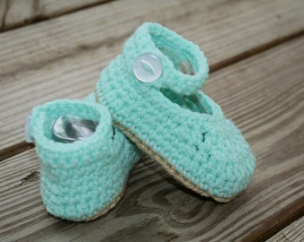 Crocheted Teal Baby Mary Jane Booties