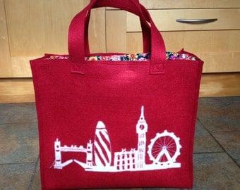 Red FeltShopping Bag With London Skyline In Felt
