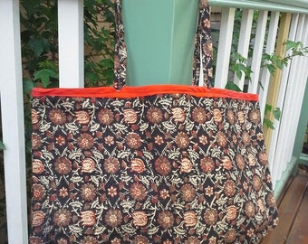 Black Indian Floral Print Tote Bag