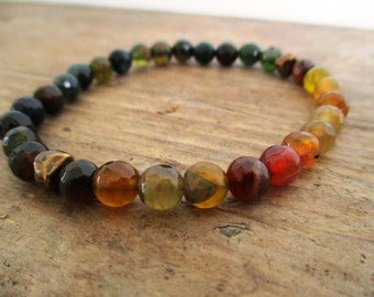 Earth tones faceted agate bracelet