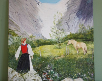 Norwegian Glacier with Fjord Horse and Girl