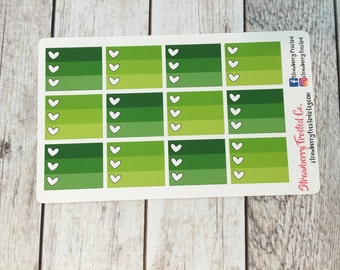 Greens Monthly Half Ombre Checklist Planner Stickers -Vertical Planners/