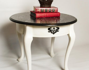 French Script Round Accent Table