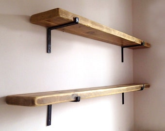 Reclaimed Wood Shelves with 2 Iron Brackets included. Wood Shelf + Brackets. Special Offer! Made in Italy.