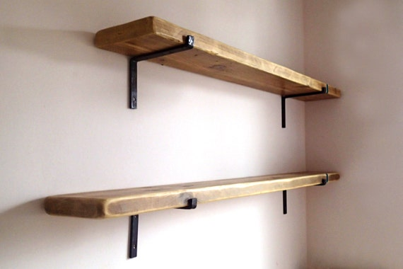 Reclaimed Wood And Metal Wall Shelves: 9 Deep Reclaimed Wood Shelves With 2 Iron Brackets