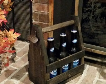 Rustic Wood Beer Tote /Beer Caddy / Beer Carrier