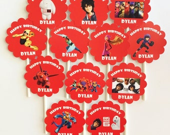 12 Personalized double sided Big Hero 6 Cupcake Toppers Birthday Party Favors