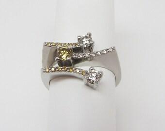 14k Lady's yellow and white diamond ring