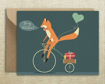 Fox Bike Valentines Day Card Valentines Card, Funny Valentine Card, Boyfriend Card,  For Girlfriend, Gift For Her, Gift For Him