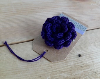 Deep purple flower brooch. Crochet flower brooch. Crochet pin. Flower Pin.