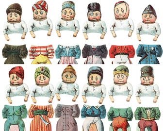 Palmer Cox Brownies Digital Paper Dolls Printable Download Changeable Heads Antique Reproduction Instant Download On Sale