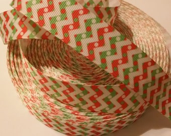 "Holiday - Red/White/Green Chevron inspired 7/8"" Grosgrain Ribbon"