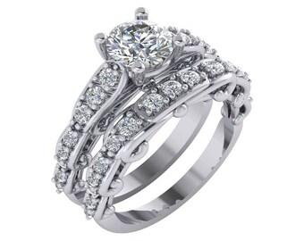 1 Carat Diamond Ring, Vintage Diamond Engagement Ring, Unique Diamond Engagement Ring, 1 Carat Engagement Ring