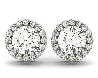 Mossanite Diamond Studs, Moissanite Studs,Halo Diamond Earrings,Moissanite Earrings, Diamond Earrings in 14k White gold.