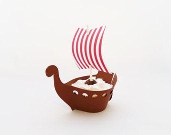Set of 5 - Viking Ship Cupcake Wraps