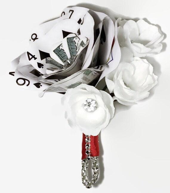 Money Playing Card Flower, Poker Boutonnière, Paper Flowers, Rhinestone Bling, Flowers with Crystals, Wedding Flowers, Vegas Wedding, Casino