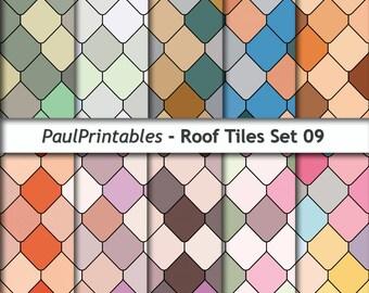Roof Tiles Digital Paper Set 009 INSTANT DOWNLOAD 12x12 inches  Illustration Print Art Decorative - SKU 1205