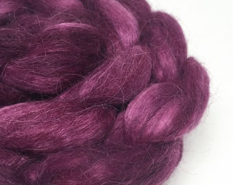 suri huacaya alpaca roving, hand-dyed fibre, spinning and felting fiber - Aubergine - 100g, purple