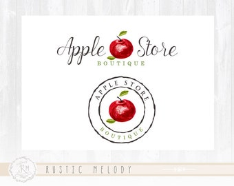 Apple Logo Design Fruits Logo Raw Food Logo Watercolor Logo Stamp Logo