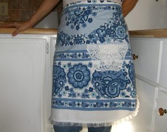 Blue Apron, Upcycled Apron, Linen Apron, Women's Apron