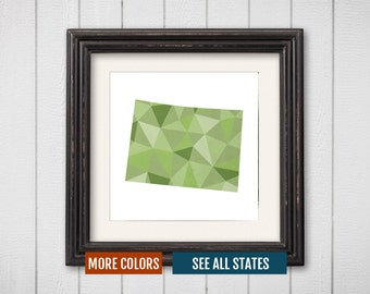 Colorado State Map Print - Personalized Geometric Wall Art CO Colorful Abstract Poster, Minimal, Unique and Customized Triangle Decor